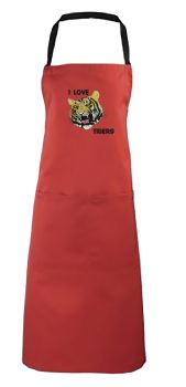 I Love Tigers Embroidered Apron